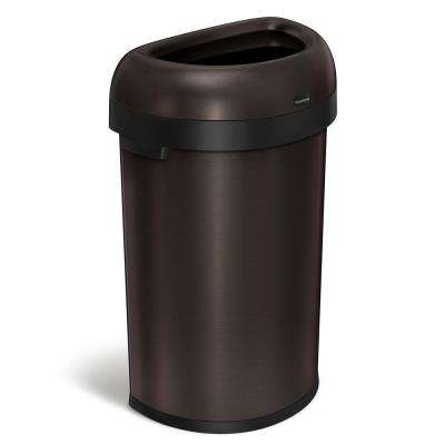 60-Liter Dark Bronze Heavy-Gauge Stainless Steel Semi-Round Open Top Trash Can