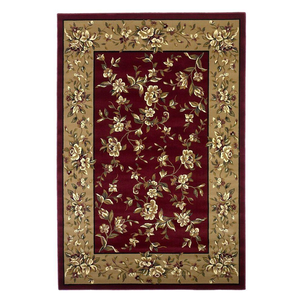 Kas Rugs Traditional Florals Red Beige 9 Ft 10 In X 13