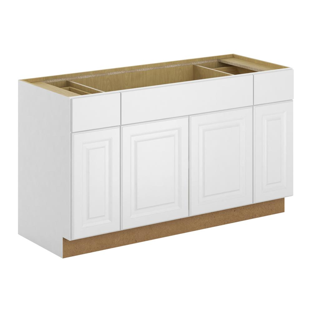Hampton Bay Madison Assembled 60 In W X 34 5 In H X 24 In D Sink Base Cabinet In Warm White