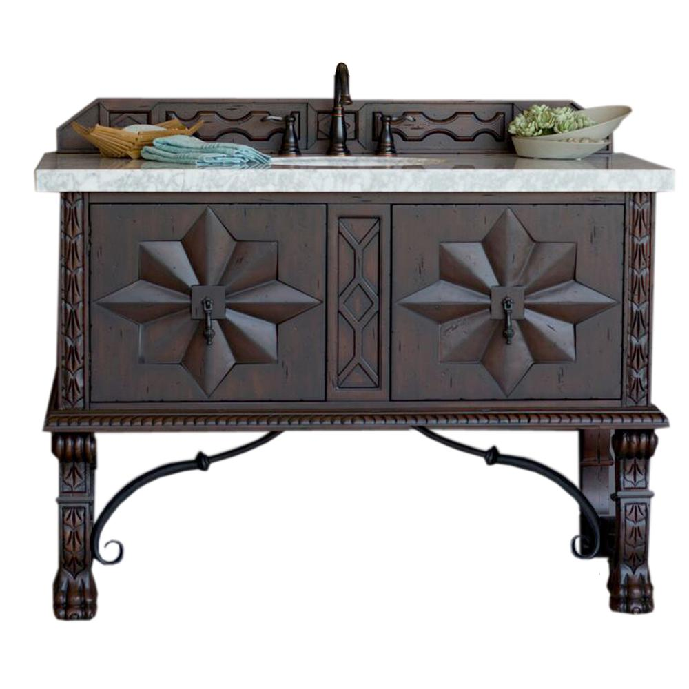 James Martin Signature Vanities Balmoral 48 In. W Single Vanity In Antique  Walnut With Marble