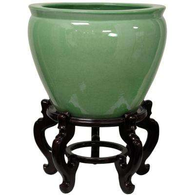 Oriental Furniture 14 in. Celadon Porcelain Fishbowl