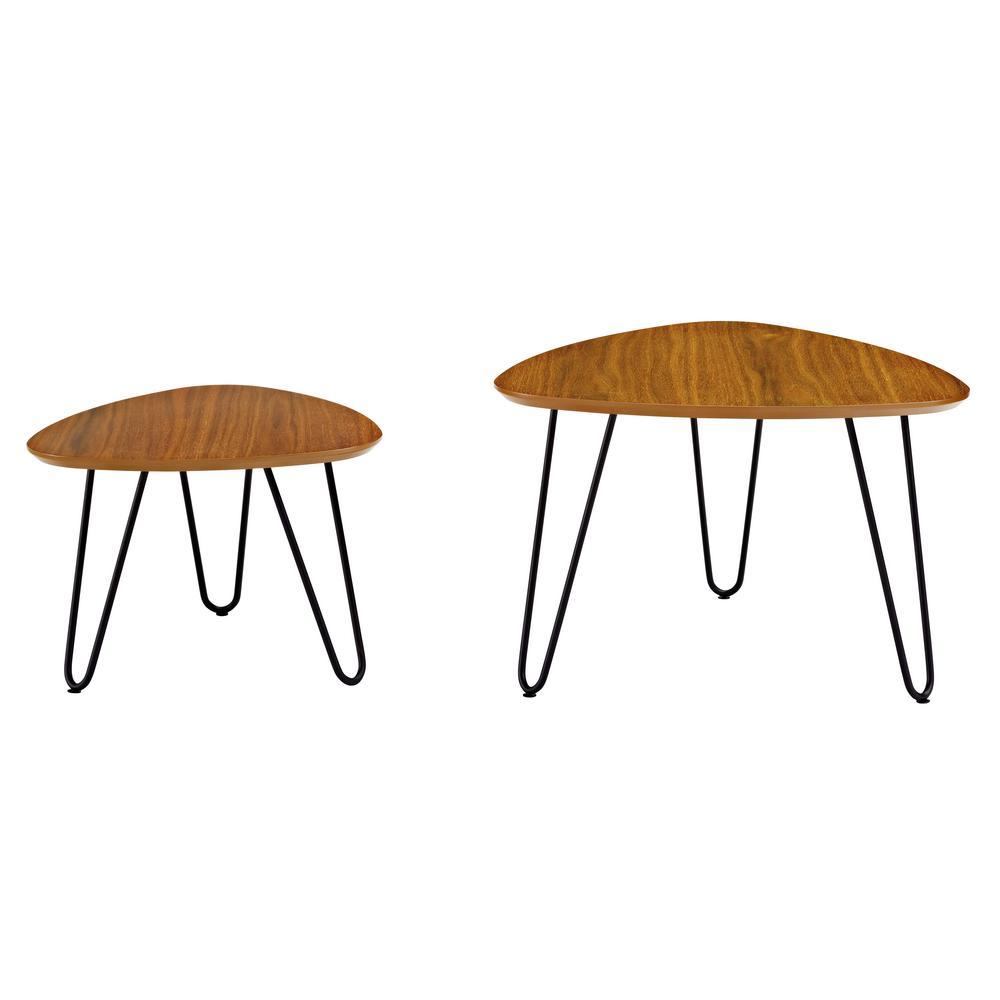 Hairpin Leg Wood Nesting Coffee Table Set - Walnut