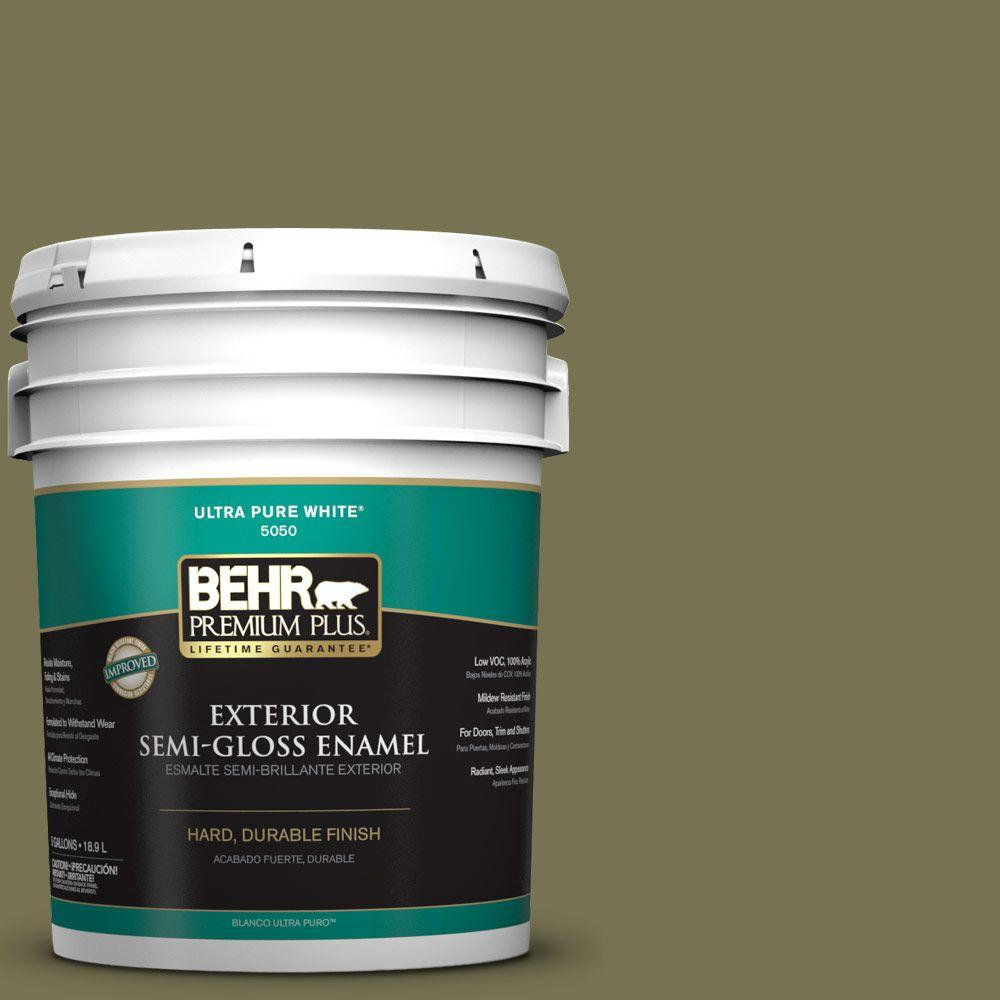 BEHR Premium Plus 5-gal. #S350-6 Truly Olive Semi-Gloss Enamel Exterior Paint