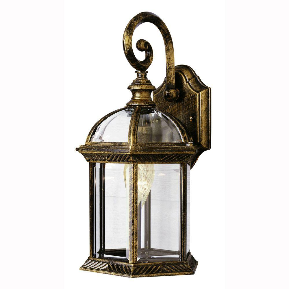 Wall Mount 1-Light Outdoor Black Gold Coach Lantern with Clear Glass