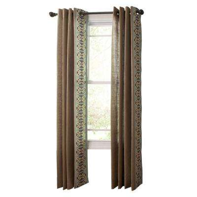 Snail Shell Geo Border Grommet Curtain
