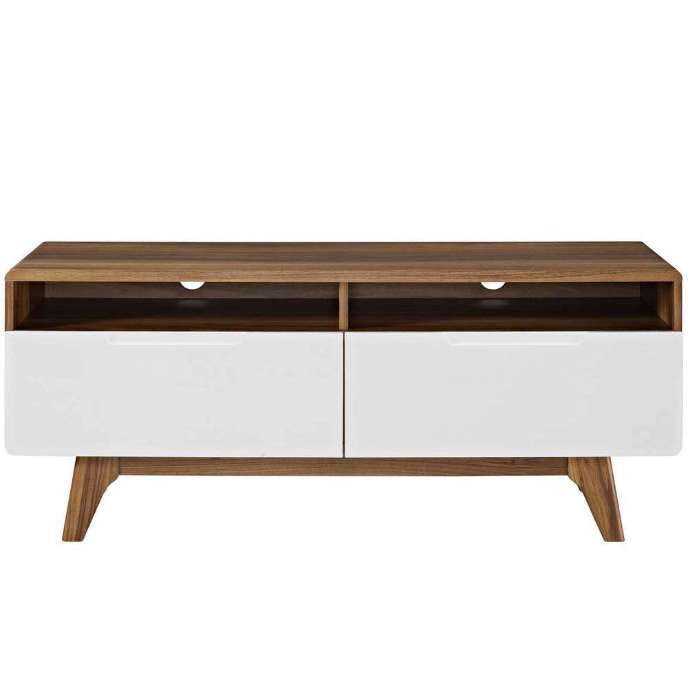 Modway Origin 47 In Walnut White Tv Stand Eei 2533 Wal Whi The