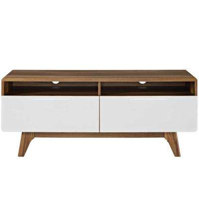 Origin 47 in. Walnut White TV Stand