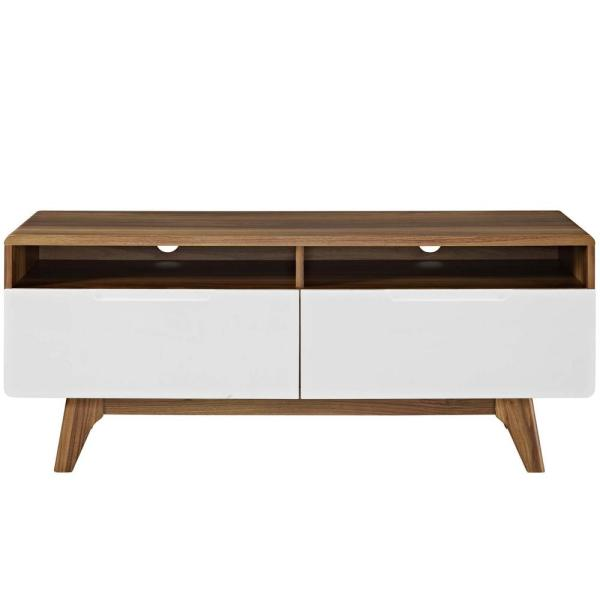 Origin 47 in. Walnut and White Wood TV Stand with 2 Drawer Fits TVs Up to 50 in. with Cable Management