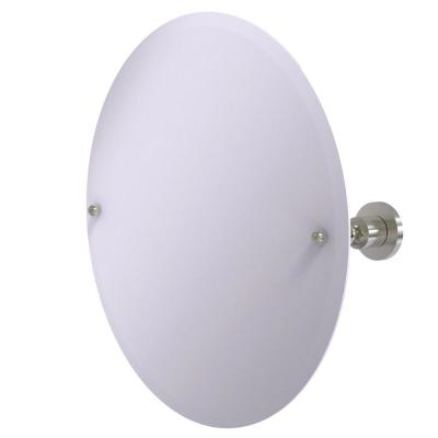 22 in. x 22 in. Astor Place Frameless Round Tilt Mirror with Beveled Edge in Satin Nickel
