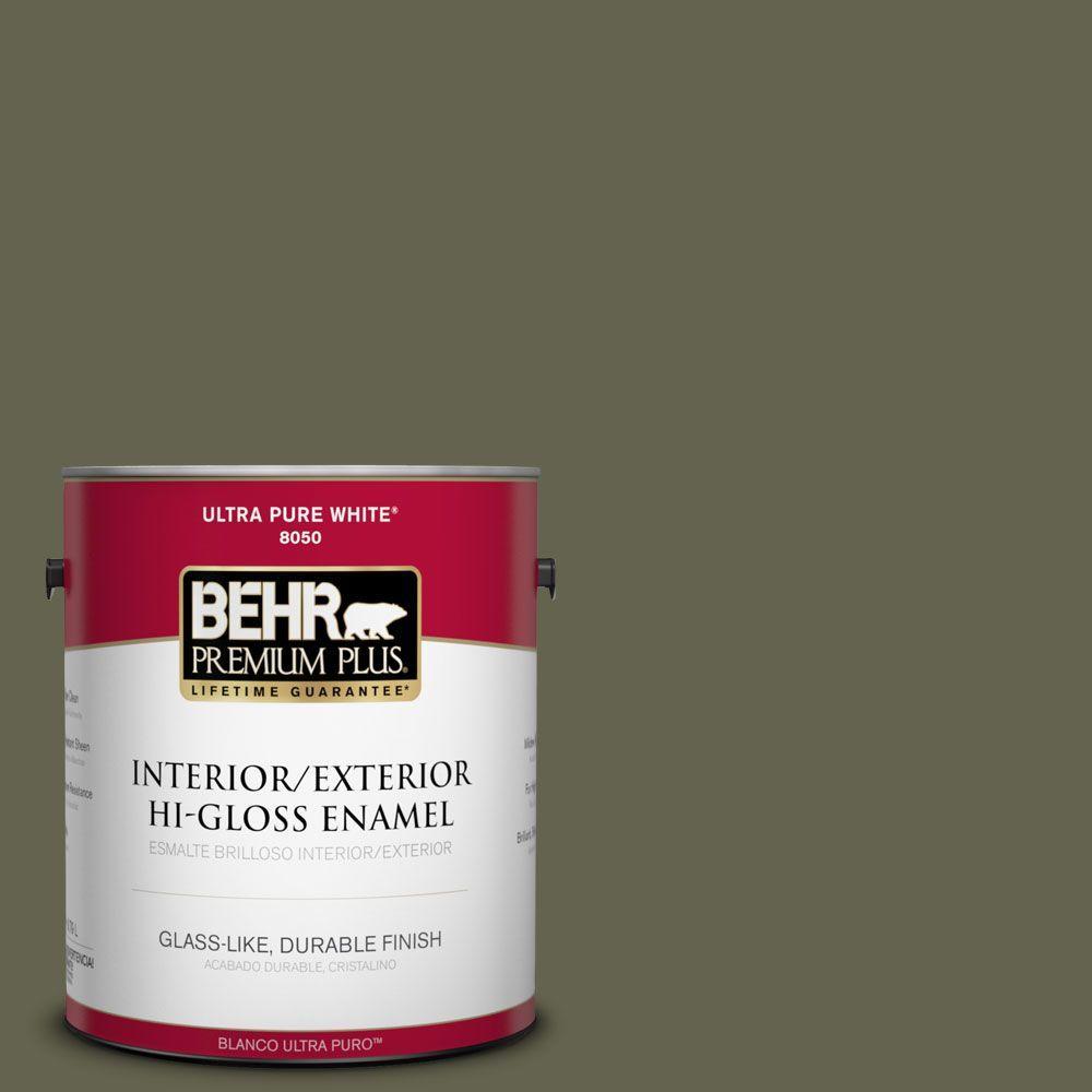 1-gal. #N350-7 Russian Olive Hi-Gloss Enamel Interior/Exterior Paint