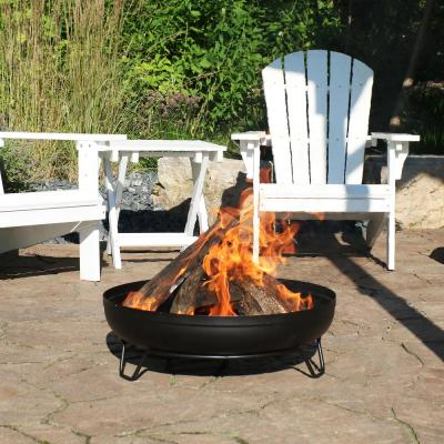 23 in. Round Steel Outdoor Wood-Burning Fire Pit Bowl in Black with Stand