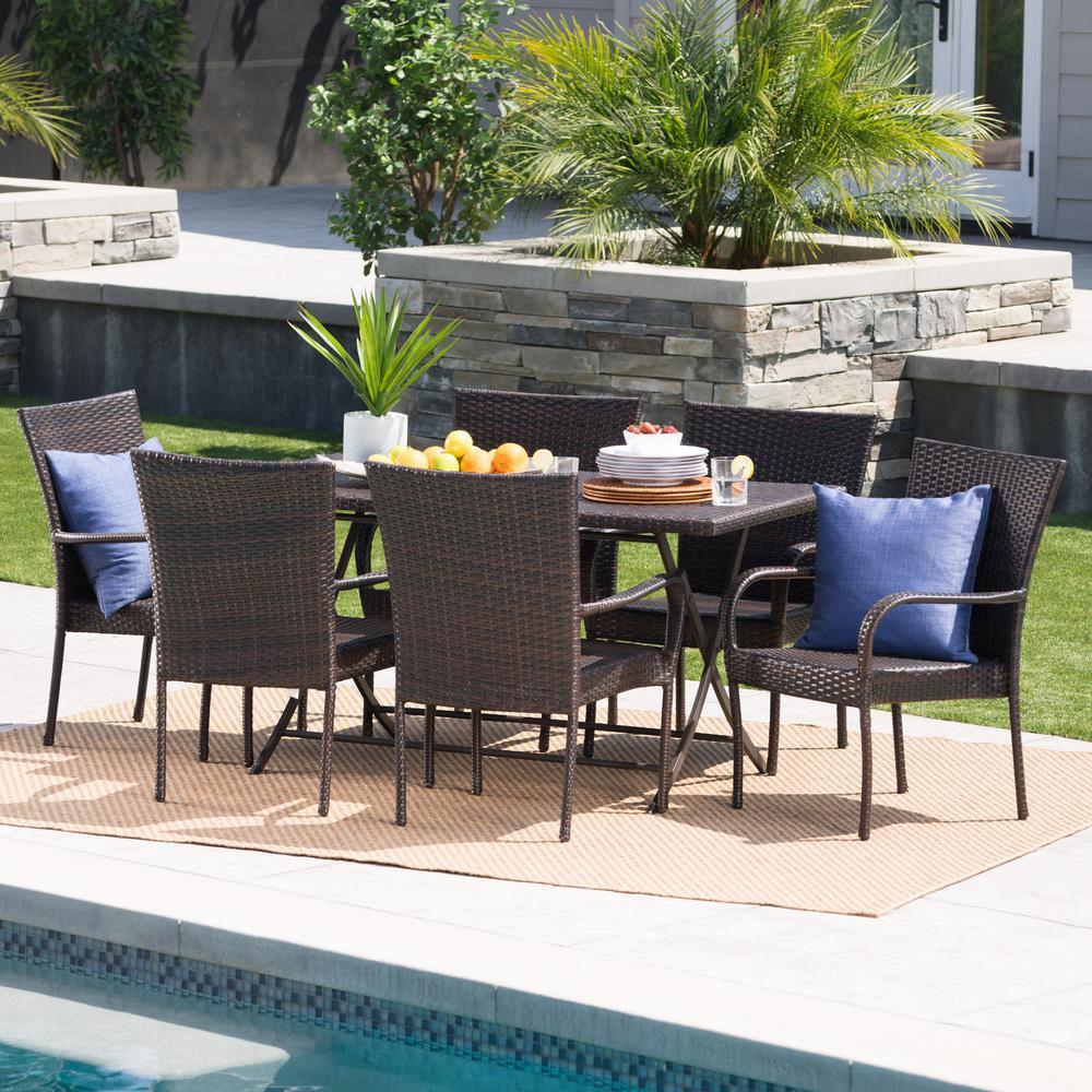 Multi-Brown 7-Piece Wicker and Metal Rectangular Outdoor Dining Set