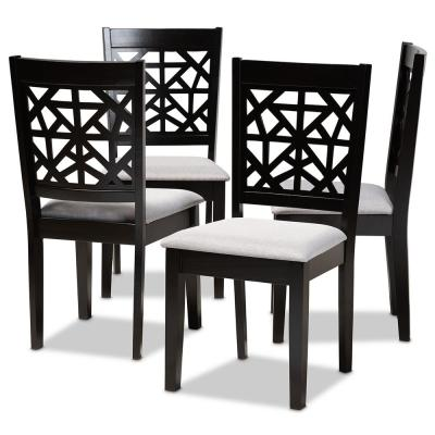 Jackson Grey and Espresso Brown Fabric Dining Chair (Set of 4)