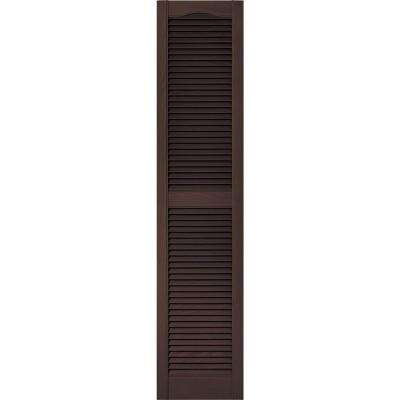 15 in. x 67 in. Louvered Vinyl Exterior Shutters Pair in #009 Federal Brown
