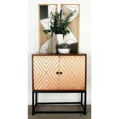 Stained Brown Wood and Copper 2-Door Cabinet