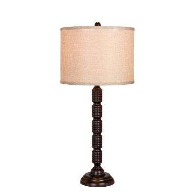 30.5 in. Industrial, Ribbed Metal Table Lamp in a Oil Rubbed Bronze