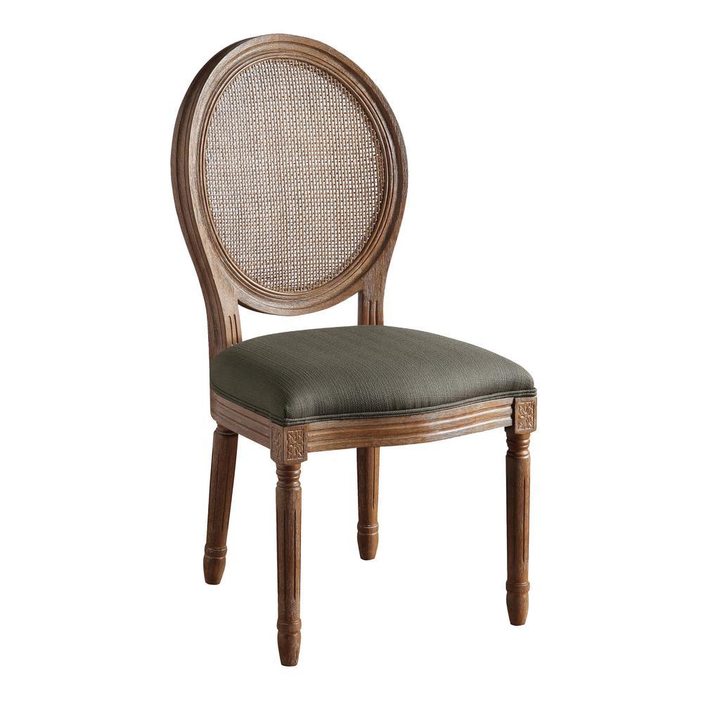 Stella Oval Otter Grey Fabric Back Chair