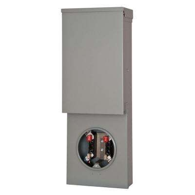 Temporary Power Outlet Panel with Two 20 Amp Duplex Receptacles Bottom Fed Ring Type Meter Socket