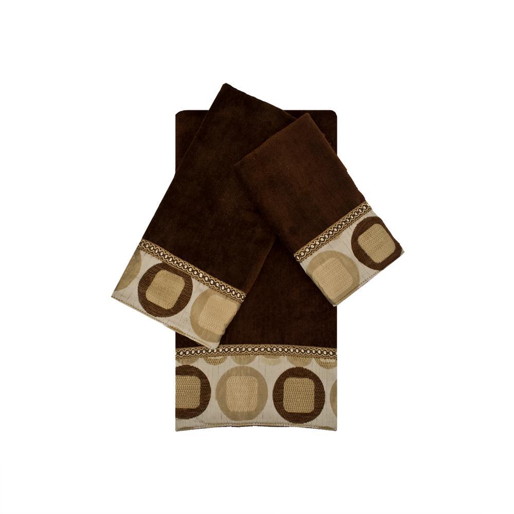 Metro Taupe Embellished Towel Set (3-Piece)