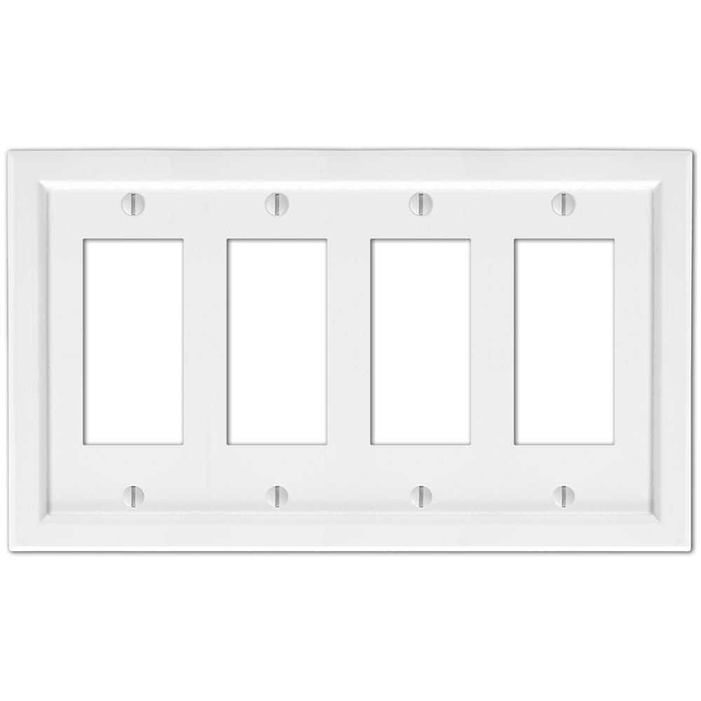 Woodmore 4 Gang Rocker Wood Wall Plate - White
