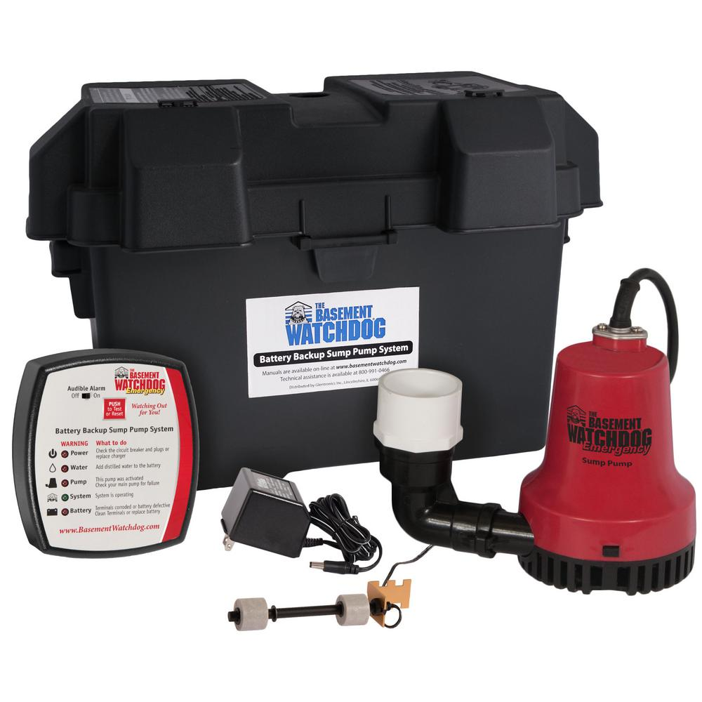 basement watchdog emergency battery backup sump pump system bwe  emergency battery backup sump pump system