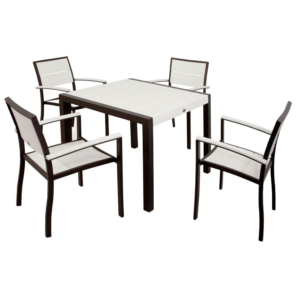 Trex Outdoor Furniture Surf City Textured Bronze 5 Piece Plastic Outdoor Patio Dining Set With