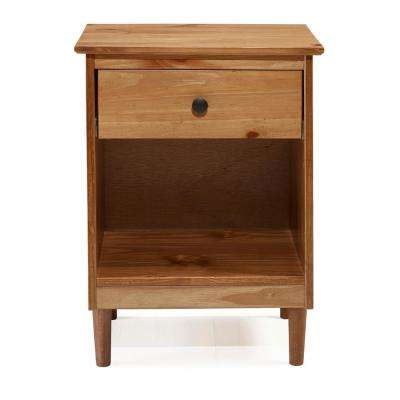 Classic Mid Century Modern Caramel 1-Drawer Solid Wood Nightstand Side Table