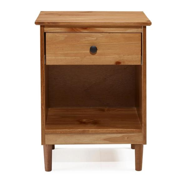 Clic Mid Century Modern Caramel 1 Drawer Solid Wood Nightstand Side Table
