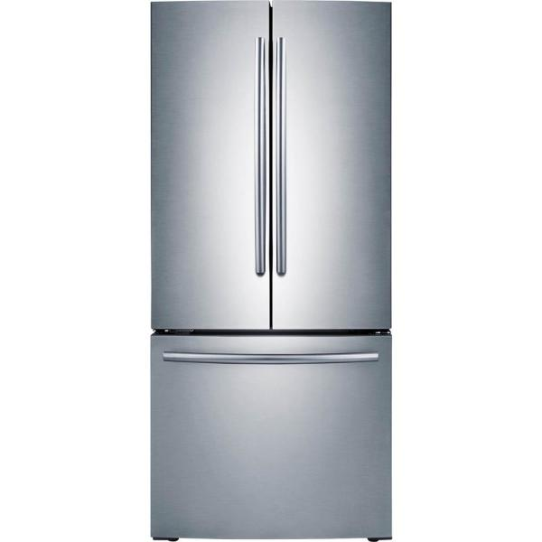 Samsung 30 In W 21 8 Cu Ft French Door Refrigerator In Stainless Steel Rf220nctasr The Home Depot
