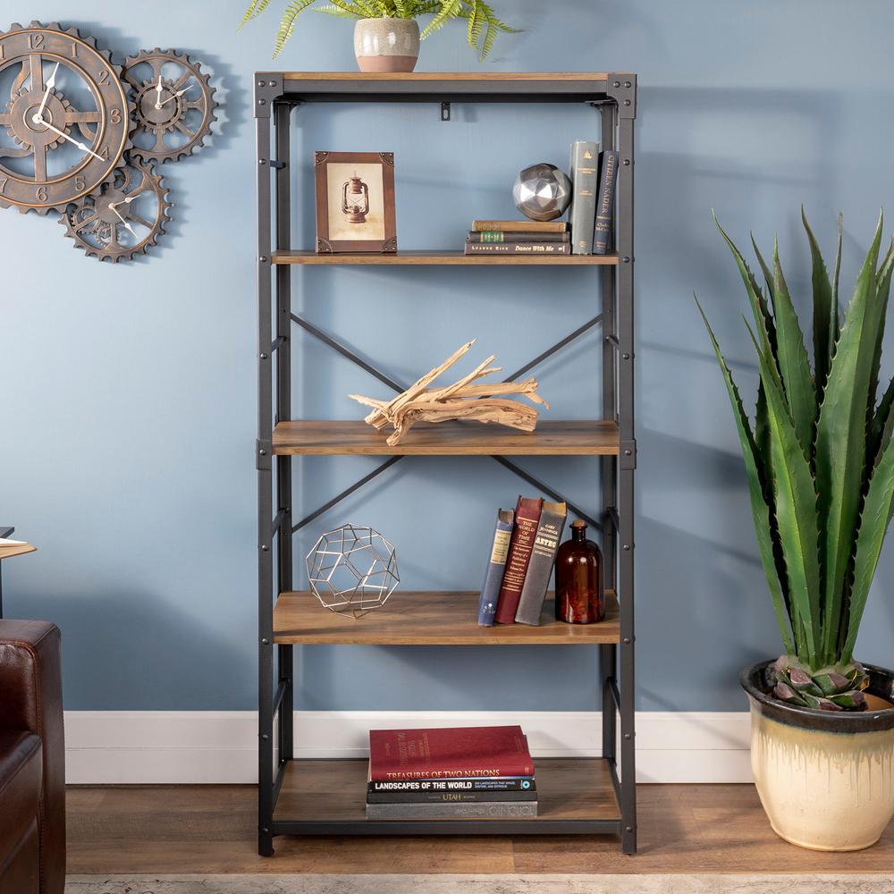 64 in. Rustic Oak/Black Metal 4-shelf Etagere Bookcase with Open Back