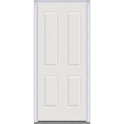32 in. x 80 in. Severe Weather Right-Hand Outswing 4-Panel Primed Fiberglass Smooth Prehung Front Door