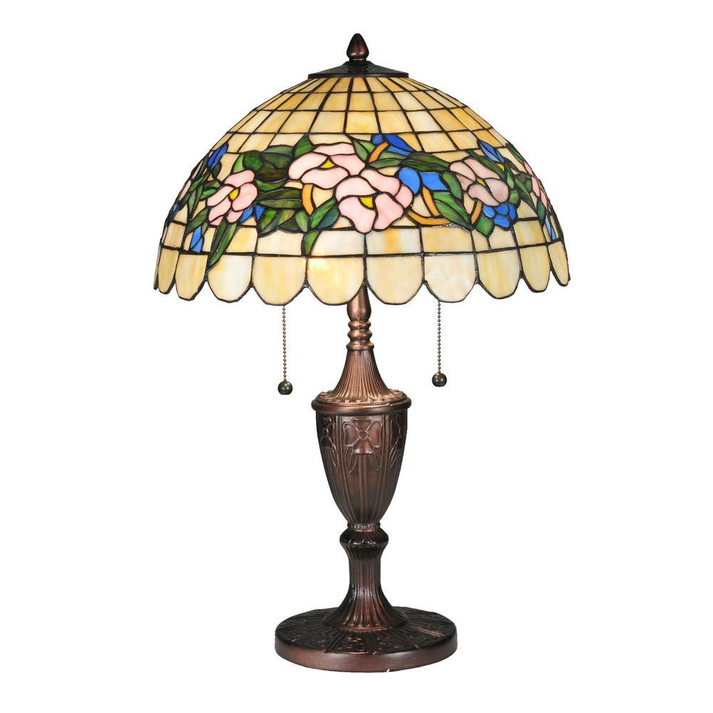 Illumine 2 Light Tiffany Pansy Table lamp