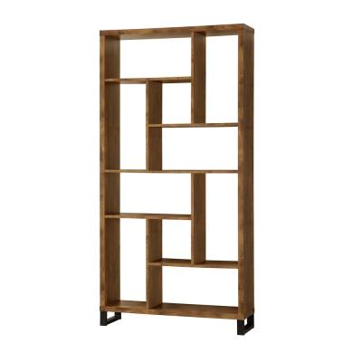 Open Bookcase with Different Sized Cubbies Antique Nutmeg