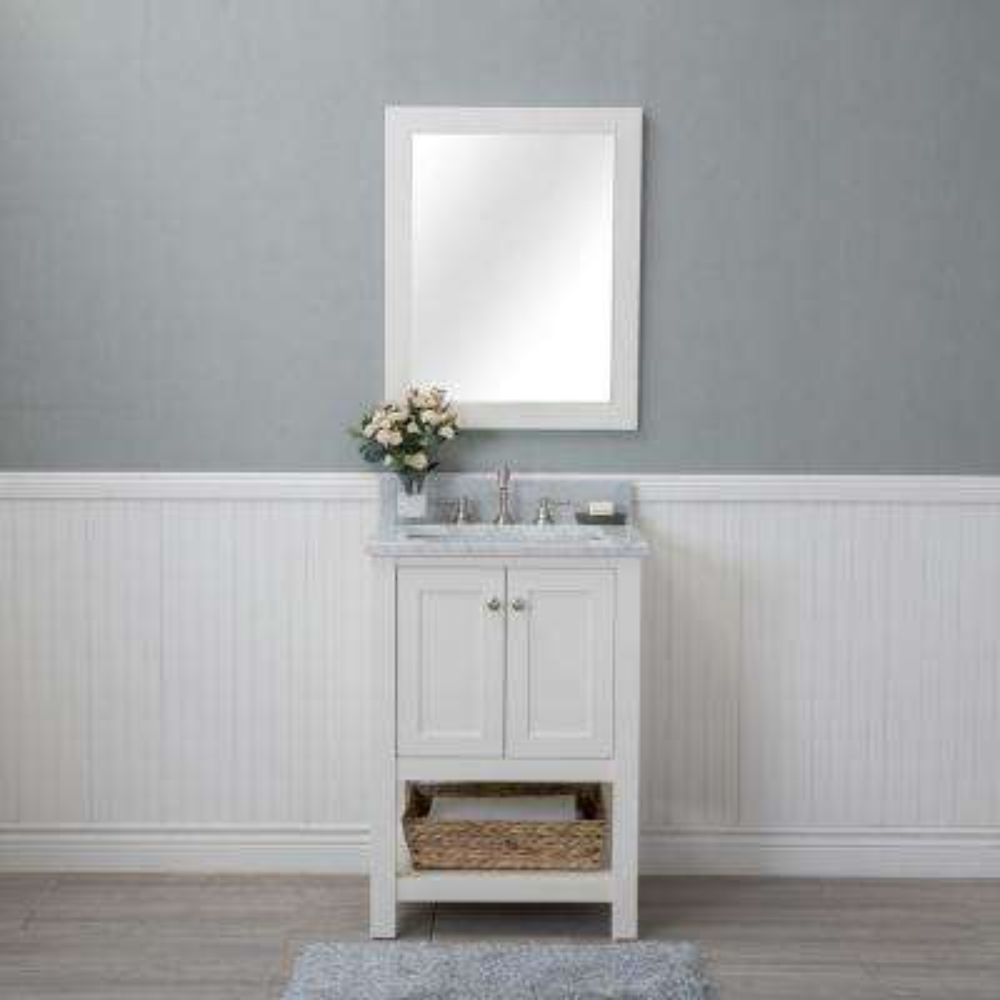 Wilmington 24 in. W x 22 in. D Vanity in Linen White with Marble Vanity Top in White with White Basin and Mirror