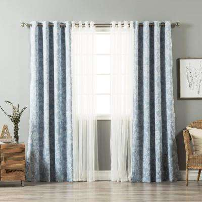 uMIXm Tulle and Henna Light Blue Flower Curtain - 52 in. W x 84 in. L (4-Pack)