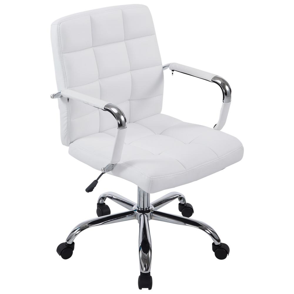Home Depot Office Chairs: Poly And Bark White Manchester Office Chair-EM-251-WHI