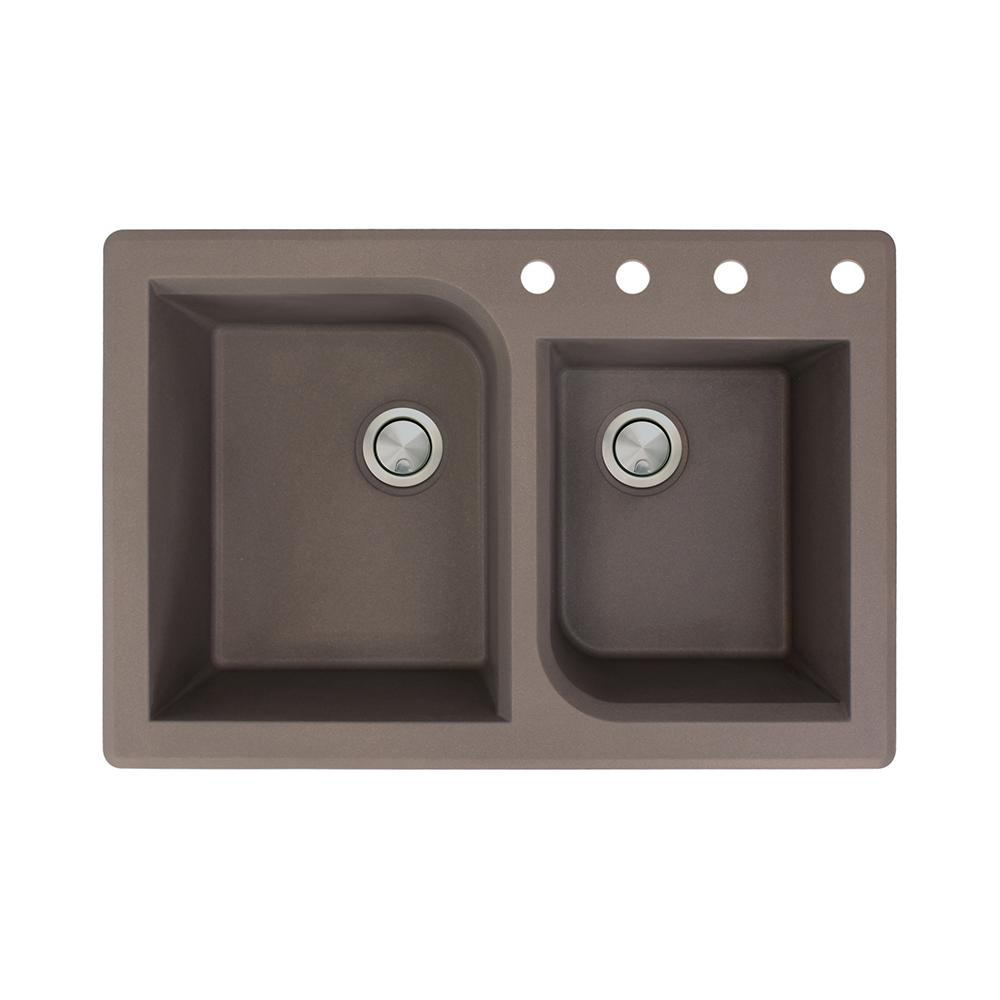 Kitchen Sink Offset From Window: Transolid Radius Drop-in Granite 33 In. 4-Hole 1-3/4