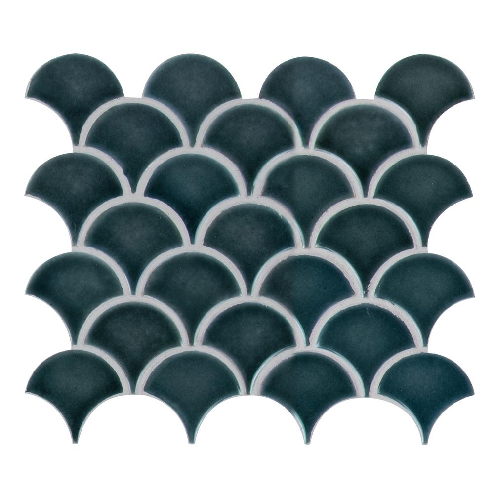 MSI Azul Scallop Glossy 13.11 in. x 9.96 in. x 8mm Glazed Porcelain Mesh-Mounted Mosaic Tile (9.1 sq. ft. / case)