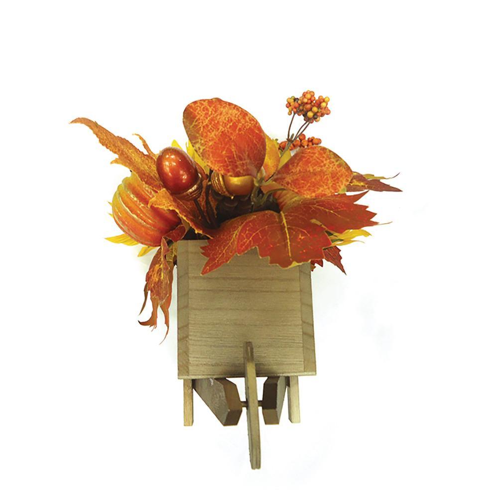 Harvest Sunflower/Pumpkin Wooden Cart Table Decor