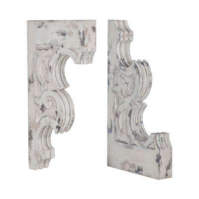 10 in. x 24 in. Weather Gray Carved Wood Fleur-De-Lis Decorative Corbels (Set Of 2)