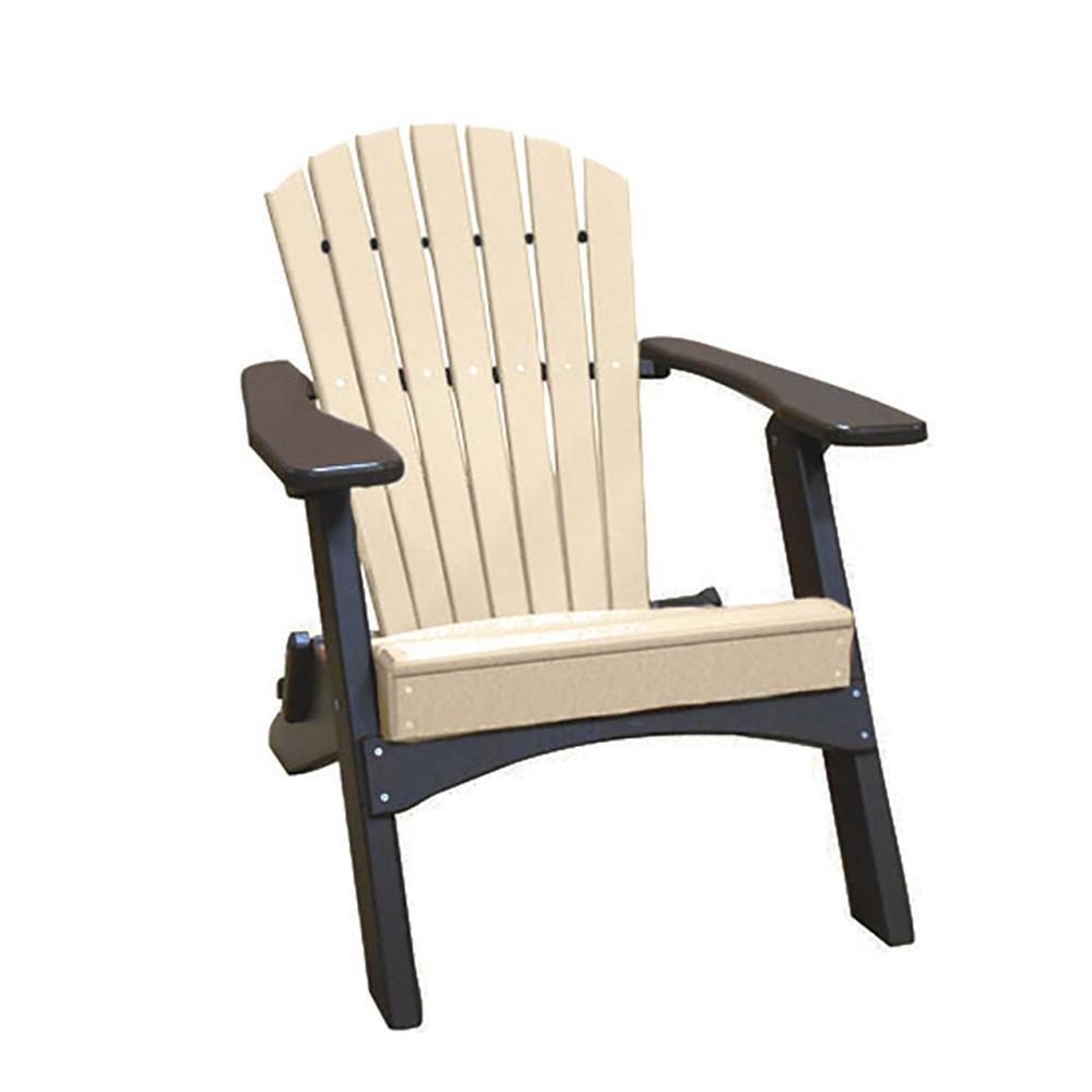 Sandstone on Mocha Folding Recycled Poly-Lumber Adirondack Chair