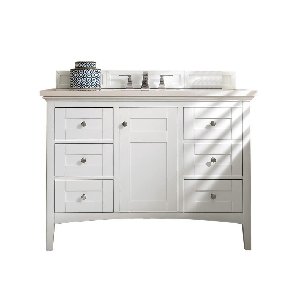 James Martin Vanities Palisades 48 in. W Single Vanity in Bright White with Soild Surface Vanity Top in Arctic Fall with White Basin