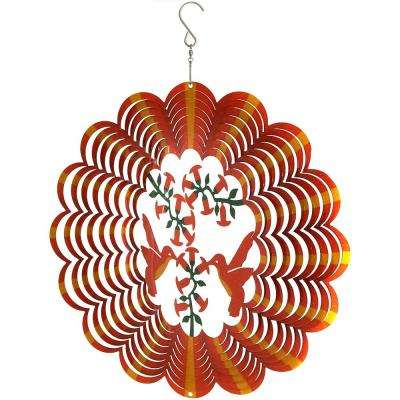 12 in. Orange Hummingbird Whirligig Outdoor Wind Spinner with Hook