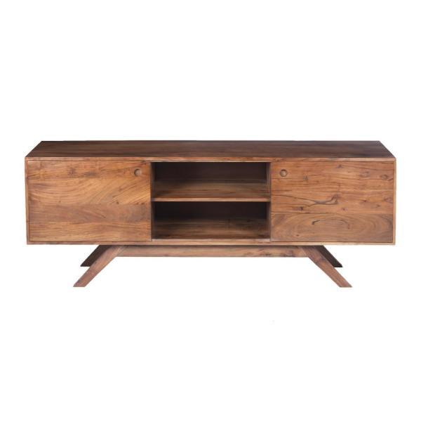 Walnut Brown Mid Century Modern Acacia Wooden TV Console with Wide Storage