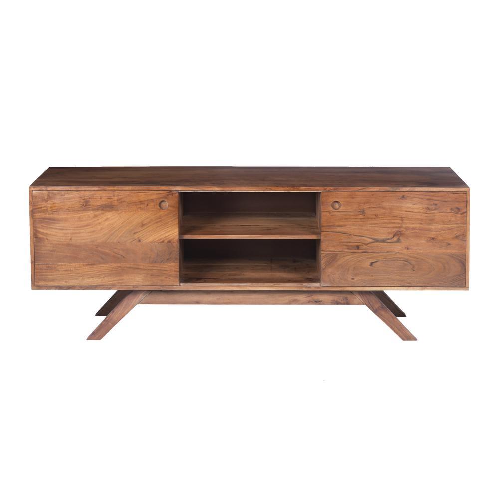 The Urban Port Walnut Brown Mid Century Modern Acacia Wooden TV