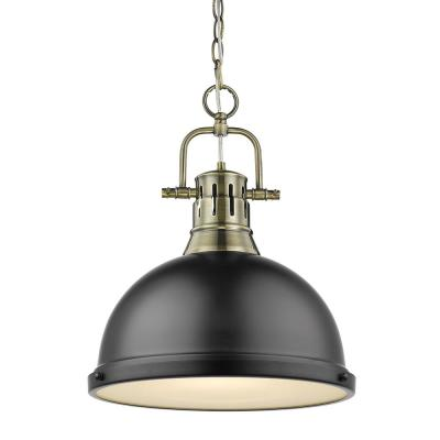 Duncan 1-Light Aged Brass Pendant and Chain with Matte Black Shade