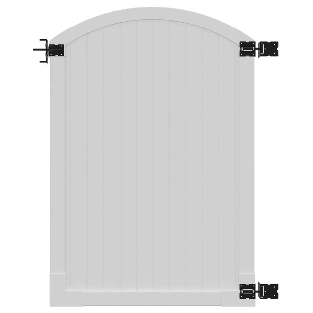H W Premium Vinyl Arched Top Gate With Powder Coated Stainless Steel  Hardware VG13007   The Home Depot
