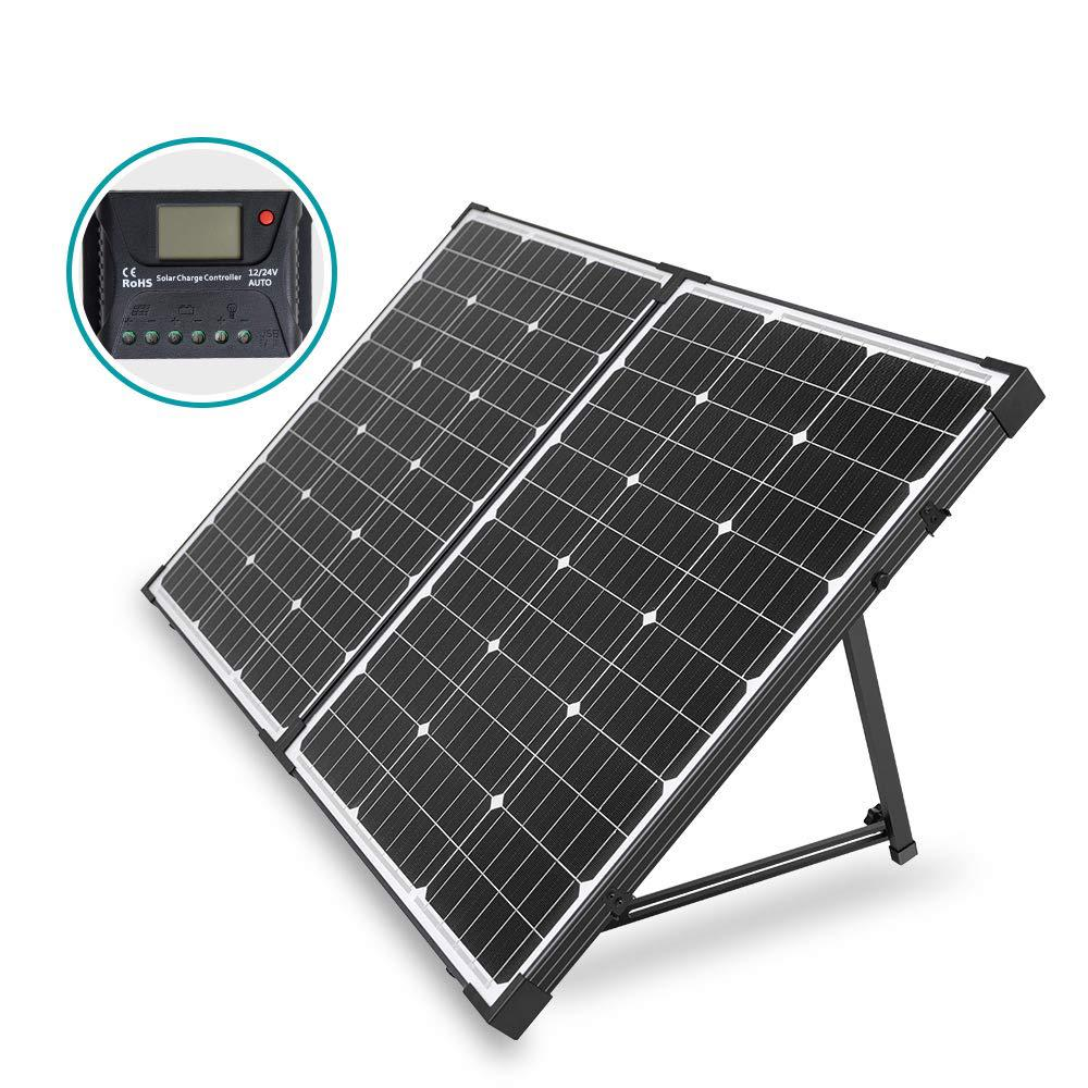 HQST 100-Watt 12-Volt Off Grid Monocrystalline Portable Folding Solar Panel  Suitcase with Charge Controller