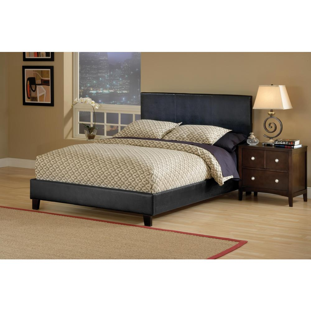 Hillsdale furniture harbortown black queen upholstered bed 1610bqr the home depot Home furniture queen size bed