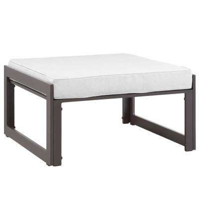 Fortuna Aluminum Outdoor Patio Ottoman in Brown with White with Cushion